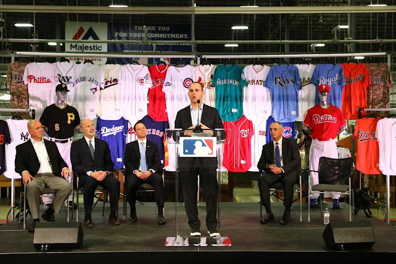 EASTON, PA - APRIL 4: Michael Rubin, Owner and Executive Chairman of Fanatics, speaks during a joint announcement between Fanatics and VF Licensed Sports Group at the Majestic Factory on Tuesday April 4, 2017 in Easton, Pennsylvania. (Photo by Alex Trautwig/MLB via Getty Images)