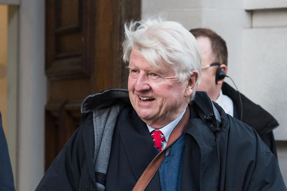LONDON, UNITED KINGDOM - FEBRUARY 04, 2020: Stanley Johnson arrives at Science Museum where Britain's Prime Minister Boris Johnson launches the UK?s COP26 strategy ahead of the Glasgow Summit in November on 04 February, 2020 in London, England. Prime Minister Boris Johnson, joined by Italy's Prime Minister Giuseppe Conte, naturalist Sir David Attenborough and the outgoing governor of the Bank of England, Mark Carney, is expected to call for international efforts to reach net zero carbon emissions by 2050.- PHOTOGRAPH BY Wiktor Szymanowicz / Barcroft Media (Photo credit should read Wiktor Szymanowicz/Barcroft Media via Getty Images)