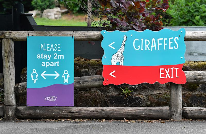 New signs at Chester zoo. (Photo: PAUL ELLIS via Getty Images)