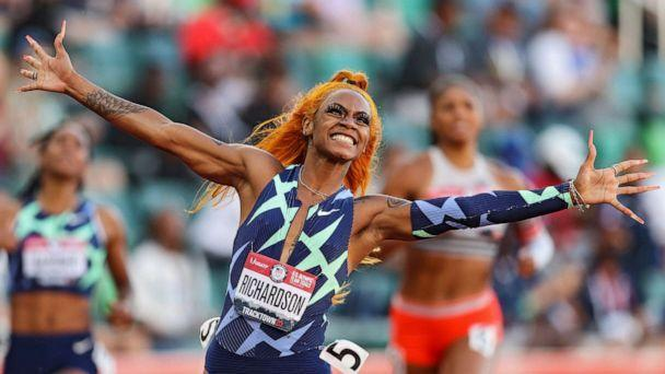 PHOTO: Sha'Carri Richardson celebrates winning the Women's 100 Meter final on day 2 of the 2020 U.S. Olympic Track & Field Team Trials at Hayward Field on June 19, 2021, in Eugene, Ore. (Patrick Smith/Getty Images)