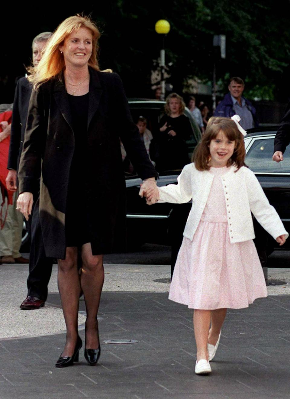 Princess Eugenie and her mum Sarah Ferguson (Fergie) say Eugenie's name is like saying 'Use Your Knees' Source: Getty