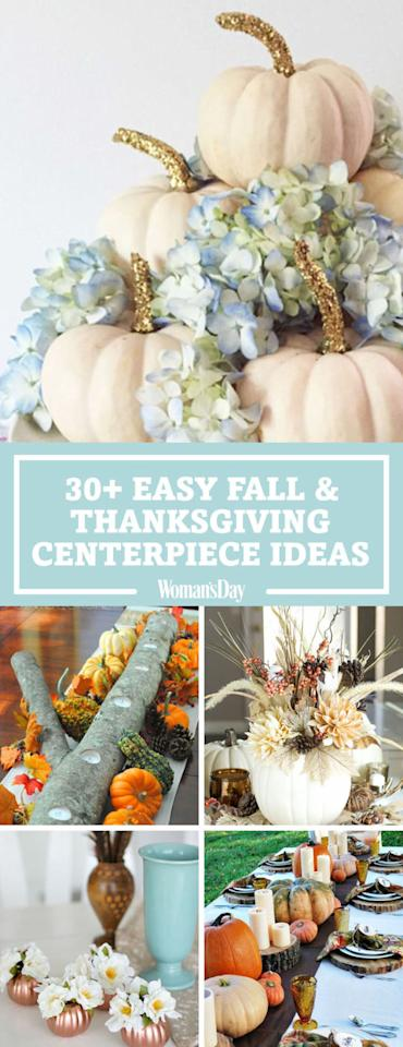 "<p>Save these easy DIY fall and thanksgiving centerpiece ideas for later by pinning this image and follow <em>Woman's Day</em> on <a rel=""nofollow"" href=""https://www.pinterest.com/womansday/"">Pinterest</a> for more. </p>"