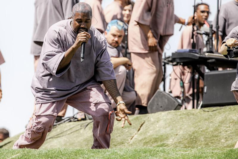 Kanye West performing one of his gospel songs put his heart and soul into the performance