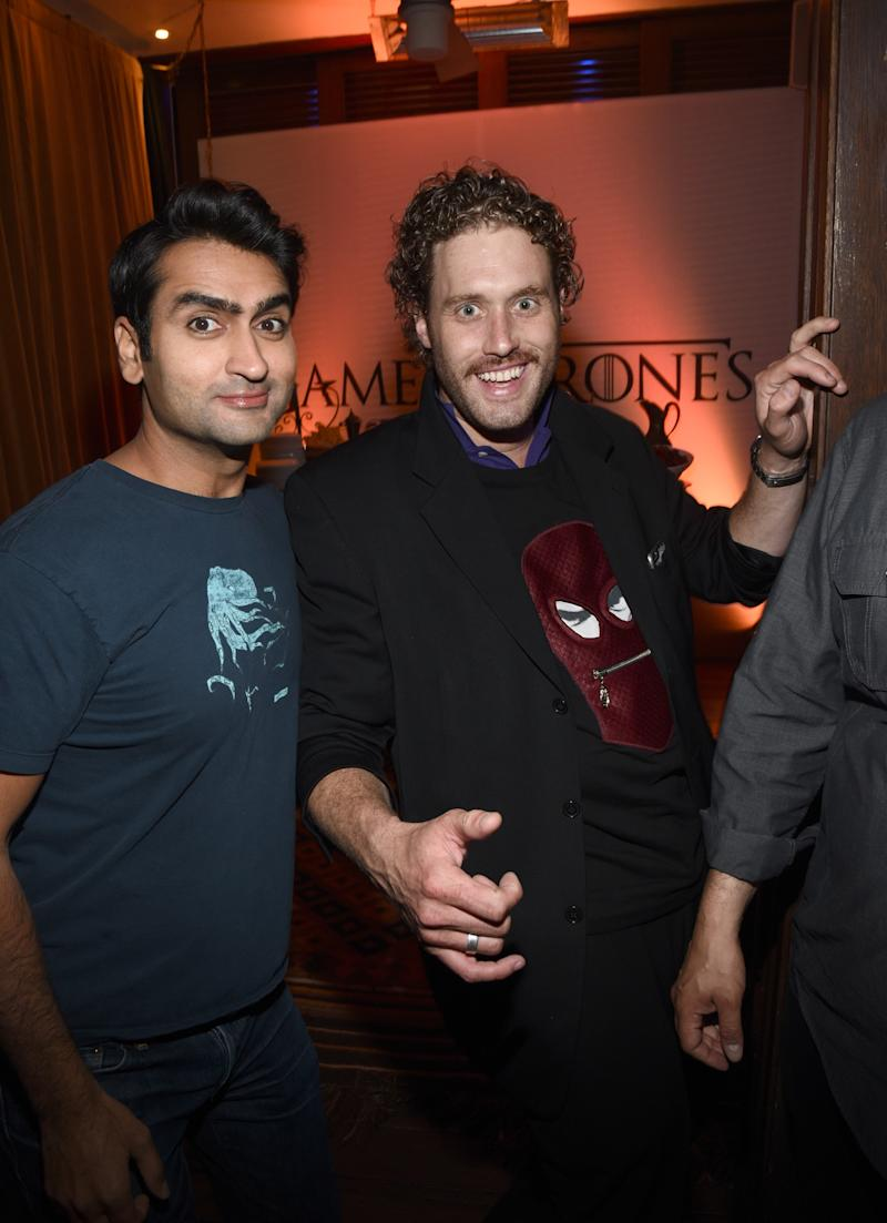 SAN DIEGO, CA - JULY 11: Actors Kumail Nanjiani (L) and T.J. Miller attend Entertainment Weekly's Comic-Con 2015 Party sponsored by HBO, Honda, Bud Light Lime and Bud Light Ritas at FLOAT at The Hard Rock Hotel on July 11, 2015 in San Diego, California. (Photo by Michael Buckner/Getty Images for Entertainment Weekly)