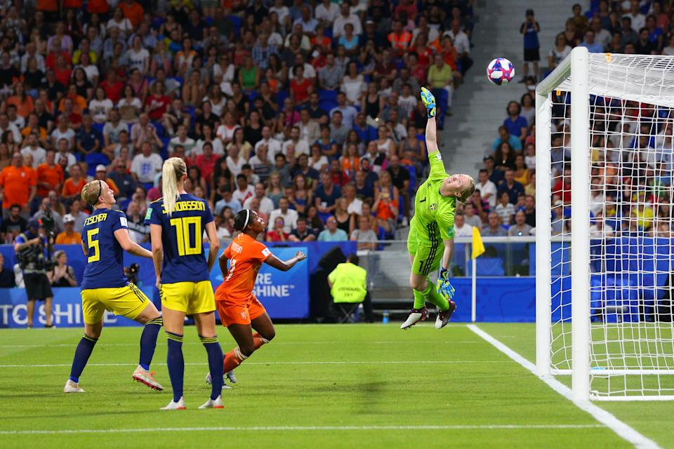 Hedvig Lindahl of Sweden tips a headed shot onto the crossbar during the 2019 FIFA Women's World Cup France Semi Final match between Netherlands and Sweden at Stade de Lyon on July 3, 2019 in Lyon, France. (Photo by Craig Mercer/MB Media/Getty Images)