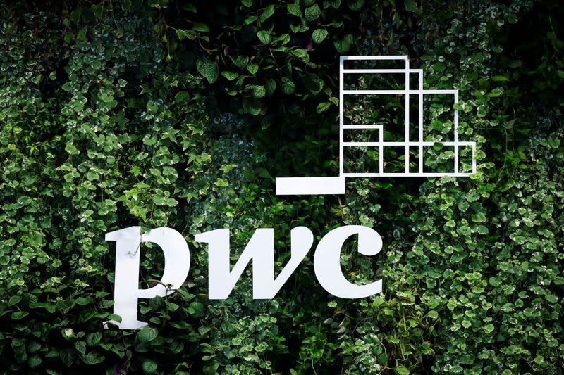 FILE PHOTO: The logo of accounting firm PricewaterhouseCoopers (PwC) is seen in St. Petersburg