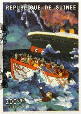 A commemorative Titanic stamp from Guinea, part of a collection of enthusiast Kenneth Mascarenhas.