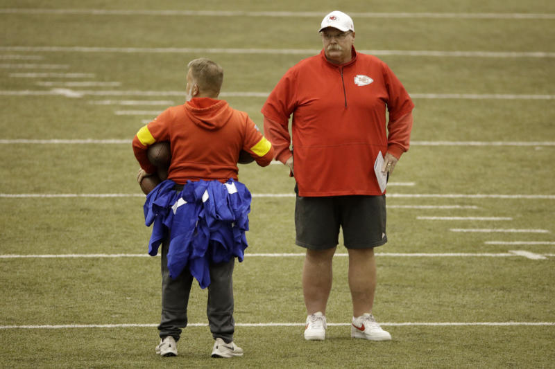 Kansas City Chiefs head coach Andy Reid watches during practice for Sunday's NFL AFC championship football game Thursday, Jan. 16, 2020 in Kansas City, Mo. The Chiefs will face the Tennessee Titans for the opportunity to advance to the Super Bowl. (AP Photo/Charlie Riedel)
