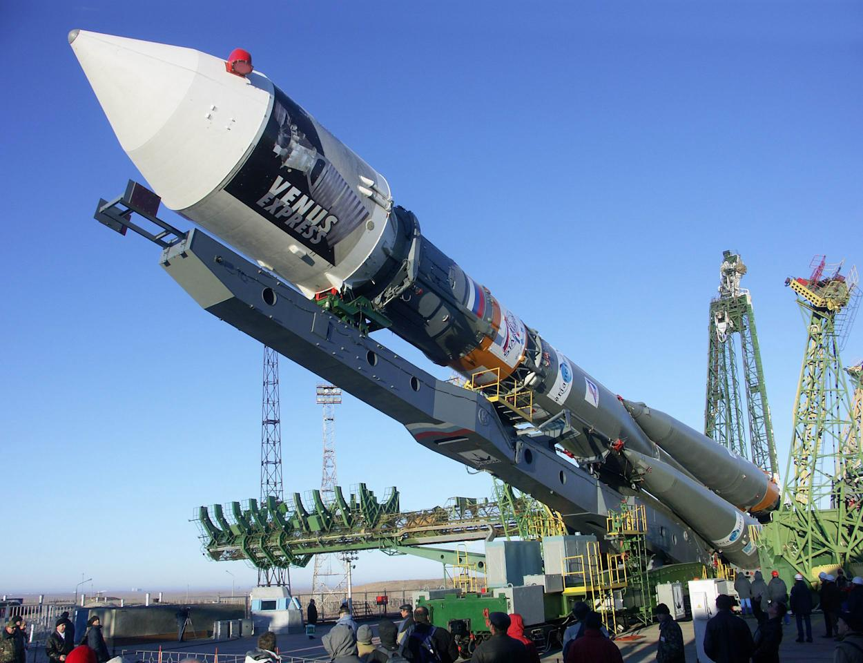 Soyuz-Fregat rocket with the Venus Express probe is installed on a launching site at the Baikonur cosmodrome in Kazakhstan, Saturday, Nov. 5, 2005. A blastoff for the European Space Agency's Venus Express probe to explore Venus was set for Nov. 9 after its earlier launch was postponed because of a booster rocket problem. (AP Photo)