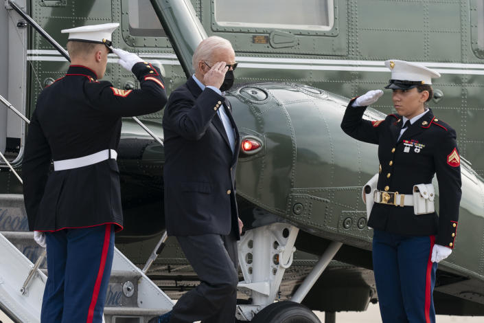 President Joe Biden salutes as he steps off Marine One before boarding Air Force One upon departure, Wednesday, June 9, 2021, at Andrews Air Force Base, Md. Biden is embarking on the first overseas trip of his term, and is eager to reassert the United States on the world stage, steadying European allies deeply shaken by his predecessor and pushing democracy as the only bulwark to the rising forces of authoritarianism. (AP Photo/Alex Brandon)