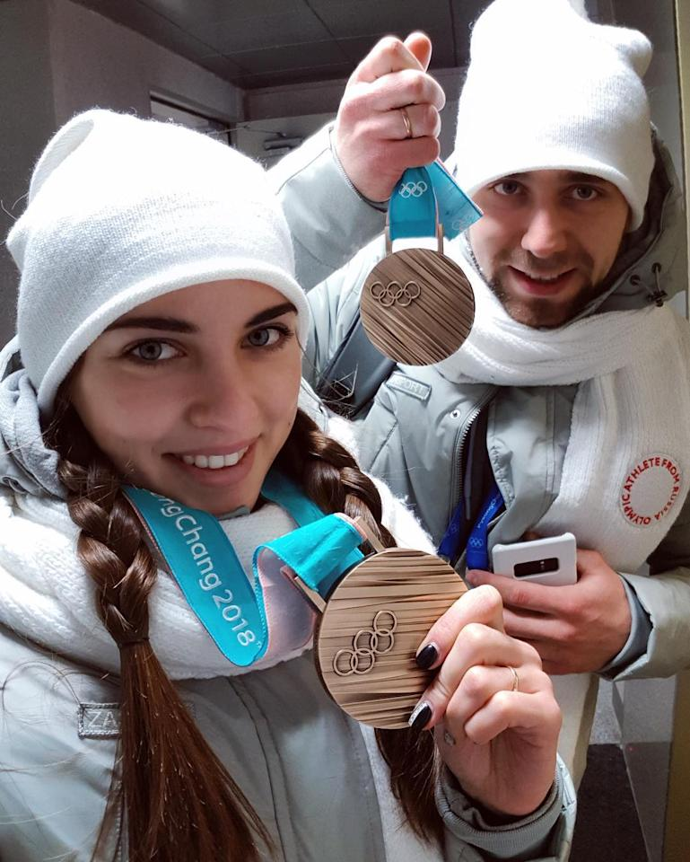 <p>Olympic head-turner Anastasia Bryzgala is married to her curling partner, Aleksandr Krushelnitckiy. The couple have been successful in PyeongChang, claiming bronze in mixed doubles curling for Olympic Athletes from Russia. (Photo via Instagram/a_nastasia92) </p>