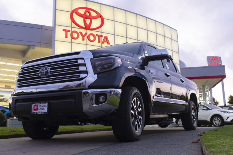 A Toyota Tundra pickup truck is seen at a car dealership in San Jose, California, United States on Tuesday, November 19, 2019. Toyota has supported President Donald Trump's plan to bar California from setting its own vehicle emissions rules. California governor Gavin Newsom said on Monday it will halt all purchases of new vehicles for state government fleets from GM, Toyota and Fiat Chrysler. (Photo by Yichuan Cao/NurPhoto via Getty Images)