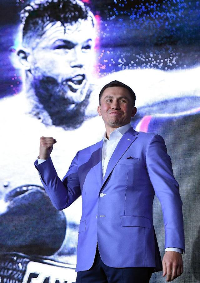 """Boxer Gennady Golovkin will take on Saul """"Canelo"""" Alvarez on September 15, a year after their long-awaited first encounter ended in a controversial draw (AFP Photo/KEVORK DJANSEZIAN)"""