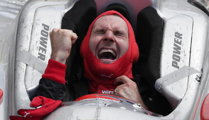 Will Power, of Australia, celebrates after winning the Indianapolis 500 auto race at Indianapolis Motor Speedway in Indianapolis, Sunday, May 27, 2018. (AP)