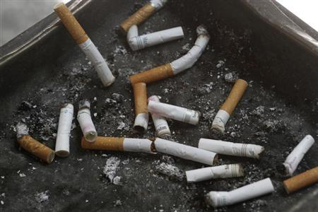 Cigarette butts in an ashtray in Los Angeles, California