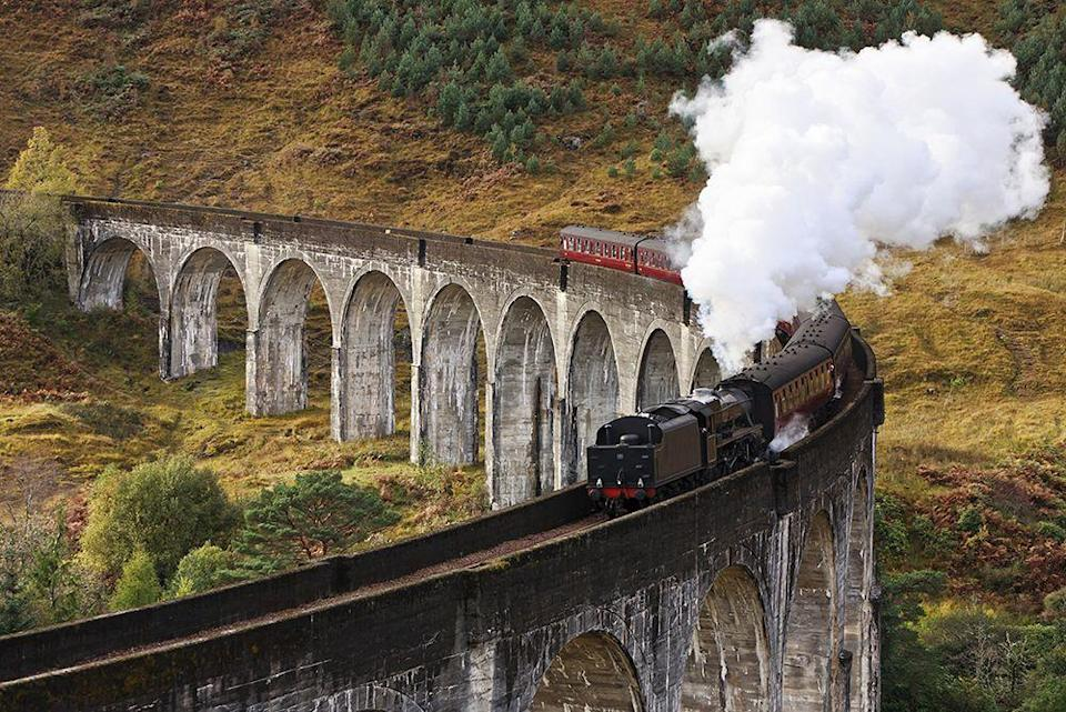 "<p>For a train ride that's straight out of a Hollywood film, look no further than the Jacobite, also known as the <a href=""https://www.goodhousekeeping.com/uk/lifestyle/travel/a33642336/harry-potter-train-scotland/"" rel=""nofollow noopener"" target=""_blank"" data-ylk=""slk:real-life Hogwarts Express"" class=""link rapid-noclick-resp"">real-life Hogwarts Express</a>. Featured in the Harry Potter films, this breathtaking train runs from Fort William to Mallaig in the Scottish Highlands. The 84-mile trip takes you past some of Britain's most impressive scenery and over the impressive Glenfinnan Viaduct.</p><p>One way to experience the Jacobite is combining it with another terrific steam experience in Scotland - a cruise on the world's last seagoing paddle steamer, the Waverley. You can also check out the Falkirk Wheel and enjoy the lochs, hills and woods of the beautiful Trossachs.</p><p><a class=""link rapid-noclick-resp"" href=""https://www.goodhousekeepingholidays.com/tours/scotland-highlands-steam-train-jacobite"" rel=""nofollow noopener"" target=""_blank"" data-ylk=""slk:BOOK A TRIP"">BOOK A TRIP</a></p>"