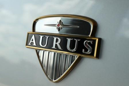 A view shows the logo of Russia's very first luxury car brand Aurus at a showroom in Moscow