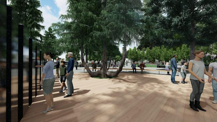 """What a landscaper designer calls the """"embracing tree"""" is part of renderings of the planned Vietnam War Memorial at the Oregon State Capitol."""