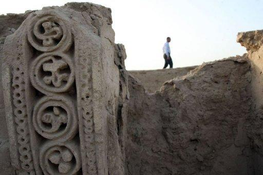 The archaeological site of a pre-Islamic Christian monastery in Iraq's central city of Najaf