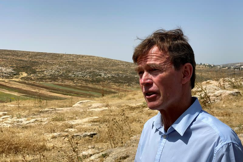 Sven Kuehn von Burgsdorff, the EU 's representative to the West Bank and Gaza, speaks with Reuters during a diplomatic tour of Palestinian villages, near al-Mughayyir in the Israeli-occupied West Bank