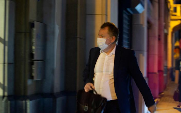 Chief negotiator David Frost arrives at the UK Mission to the EU in Brussels on Wednesday night - AP