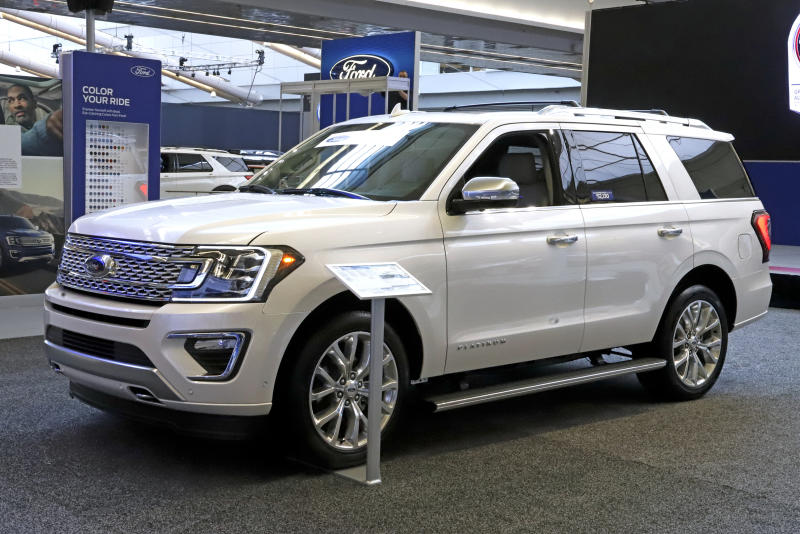 FILE- This Feb. 14, 2019, file photo shows a 2019 Ford Expedition 4x4 on display at the 2019 Pittsburgh International Auto Show in Pittsburgh. Ford Motor Co. said Tuesday, March 19, it will shift 550 jobs to its Kentucky Truck Plant to boost production of its Expedition and Lincoln Navigator to meet growing demand for its large SUVs. (AP Photo/Gene J. Puskar, File)