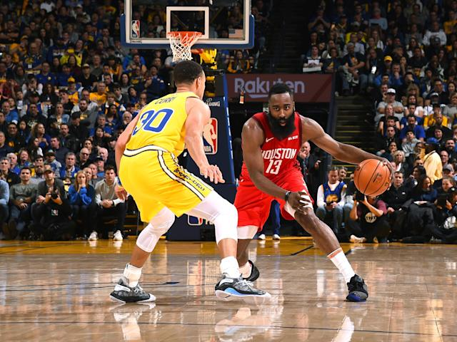 James Harden squares off against Stephen Curry last week. (Getty)