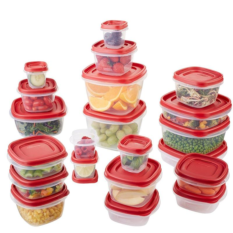 "Replace those lid-less containers and mismatched storage containers for t<a href=""https://www.amazon.com/Rubbermaid-Easy-Storage-Container-42-Piece/dp/B00COK3FD8/"" target=""_blank"">his incredibly affordable set</a>. Plus, it's microwave and dishwasher safe."