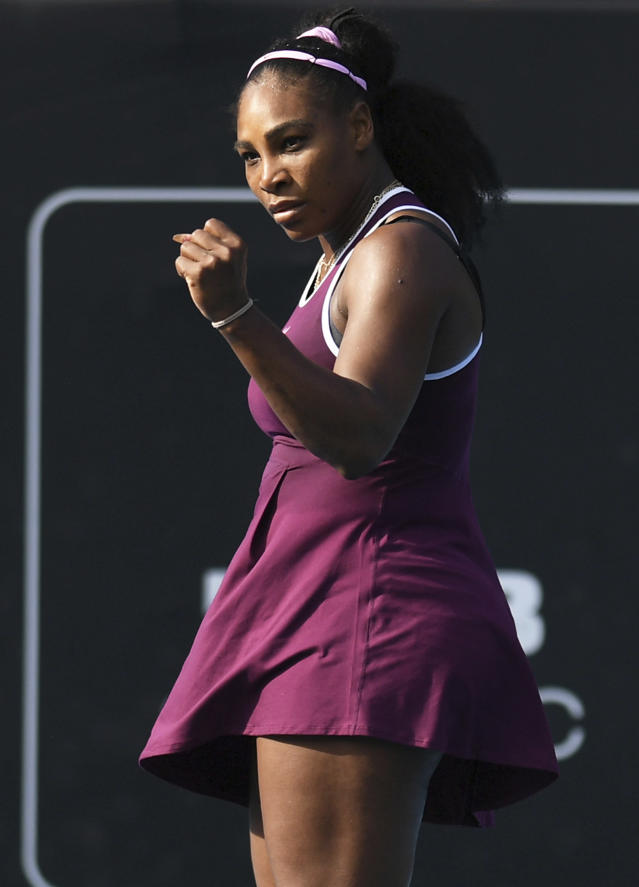 Serena Williams of the U.S., reacts during her semifinal singles match against her compatriot Amanda Anisimova at the ASB Classic in Auckland, New Zealand. Saturday, Jan. 11, 2020. (Andrew Cornaga/Photosport via AP)