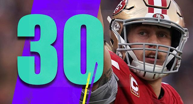 <p>George Kittle had 210 yards at halftime, four yards short of Shannon Sharpe's single-game NFL record for a tight end. He was held without a catch in the second half. The 49ers couldn't get him one catch after halftime to get the record? (George Kittle) </p>
