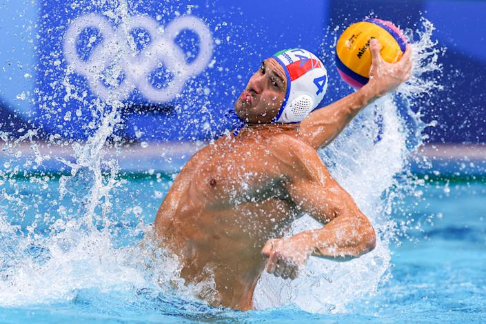 <p>TOKYO, JAPAN - JULY 27: Pietro Figlioli of Italy during the Tokyo 2020 Olympic Waterpolo Tournament men match between Italy and Greece at Tatsumi Waterpolo Centre on July 27, 2021 in Tokyo, Japan (Photo by Marcel ter Bals/Orange Pictures)</p>