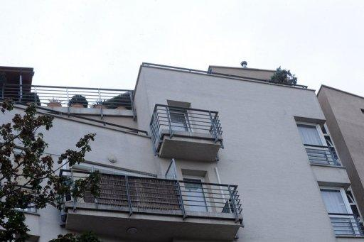 The balcony of Dr Csatary L., alias Ladislaus Csizsik-Csatary, on the last floor of a Budapest building. The Nazi-hunting Simon Wiesenthal Centre confirmed that Laszlo Csatary, accused of complicity in the killings of 15,700 Jews, had been tracked down to the Hungarian capital