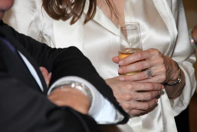 Actress Angelina Jolie, sports an engagement ring as she and Brad Pitt, view works from the Chinese collection at the The Los Angeles County Museum of Art, in Los Angeles Thursday April 12, 2012. Pitt's manager Cynthia Pett-Dante confirmed their engagement on Friday. Robert Procop confirmed that the ring was created by him, in collaboration with Brad Pitt, for Angelina Jolie. (AP Photo/Robert Procop, The Communications Group)