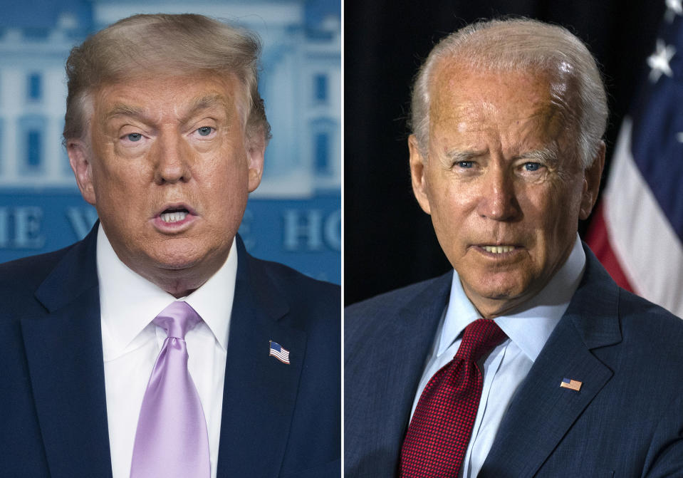 In this combination photo, president Donald Trump, left, speaks at a news conference on Aug. 11, 2020, in Washington and Democratic presidential candidate former Vice President Joe Biden speaks in Wilmington, Del. on Aug. 13, 2020. The conventions, which will be largely virtual because of the coronavirus, will be Aug. 17-20 for the Democrats and Aug. 24-27 for the Republicans. (AP Photo)