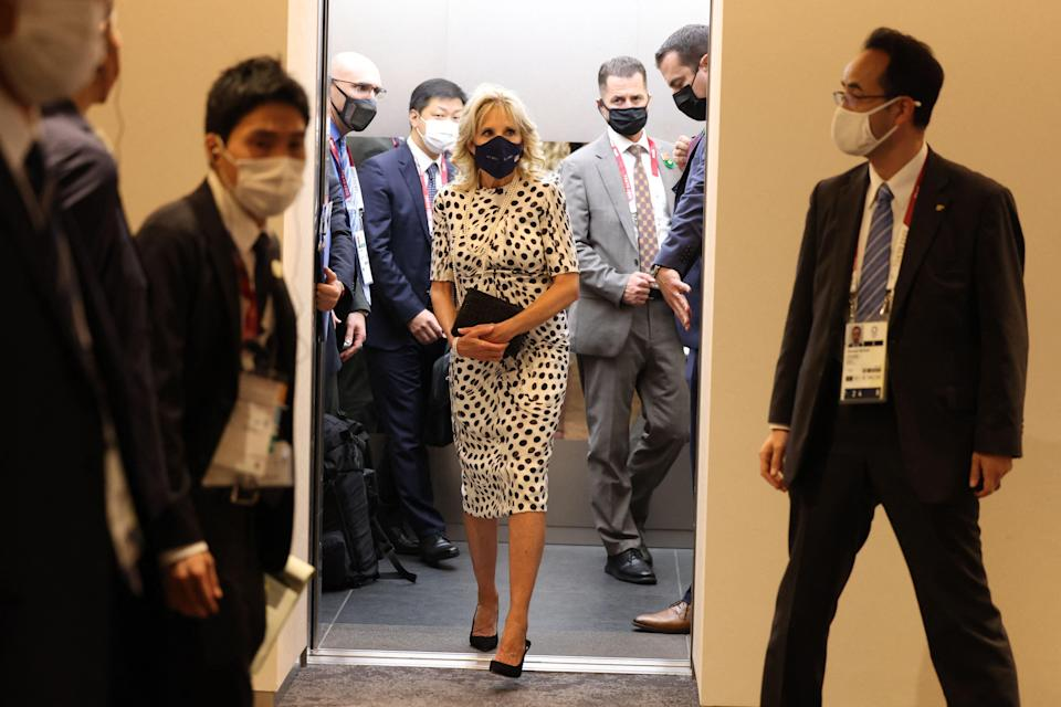 US First Lady Jill Biden arrives for the opening ceremony (POOL/AFP via Getty Images)