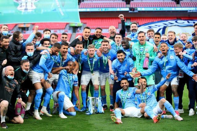 Manchester City celebrate another Carabao Cup success