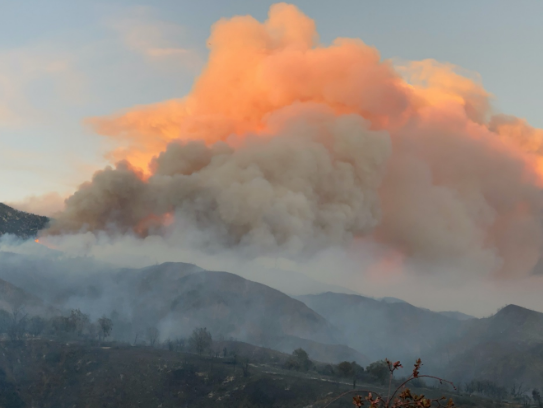 The fire department photographs show a huge plume of smoke rising from the mountainous countryside (Riverside County Fire Department/Twitter)