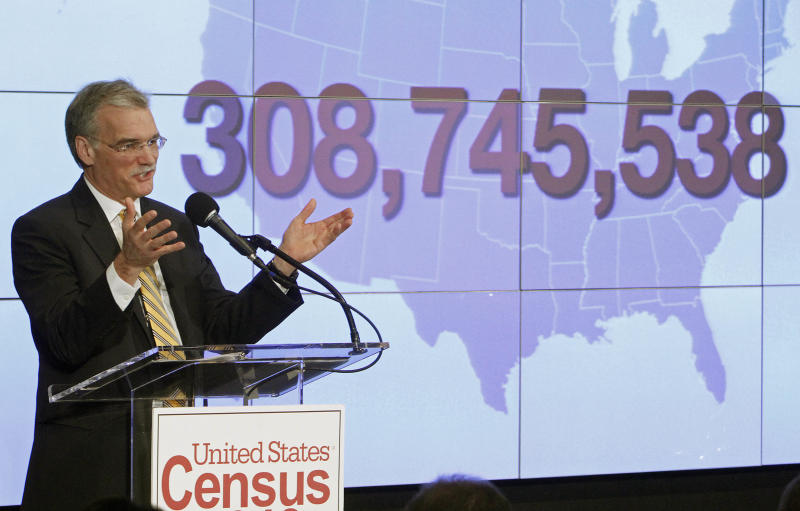 Census Bureau Director Robert Groves announces results for the 2010 U.S. Census at the National Press Club, Tuesday, Dec. 21, 2010 in Washington. (AP Photo/Jacquelyn Martin)