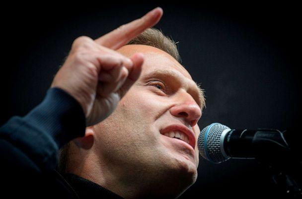 PHOTO: (FILES) In this file photo taken on September 29, 2019 Russian opposition leader Alexei Navalny speaks during a demonstration in Moscow. (Yuri Kadobnov/AFP via Getty Images)
