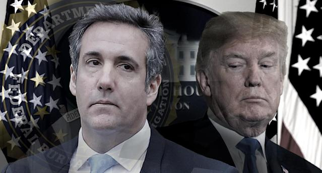 Michael Cohen and President Trump (Photo illustration: Yahoo News; photos: Shannon Stapleton/Reuters, Leah Millis/Reuters, Saul LoebAFP/Getty Image, AP)
