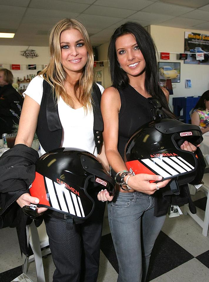 "Carmen Electra and Audrina Patridge show off their personalized helmets. Hopefully their hair won't get messed up! Alexandra Wyman/<a href=""http://www.wireimage.com"" target=""new"">WireImage.com</a> - June 3, 2008"