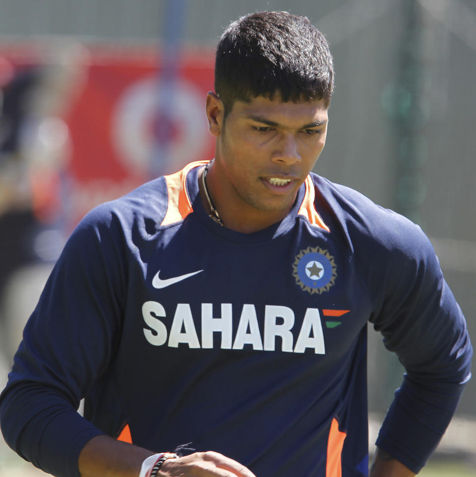 India's Umesh Yadav during a training session at the WACA in Perth, Australia on Wednesday, Jan. 11, 2012. Australia will play India in the third test starting Jan. 13, 2011. (AP Photo/Theron Kirkman)