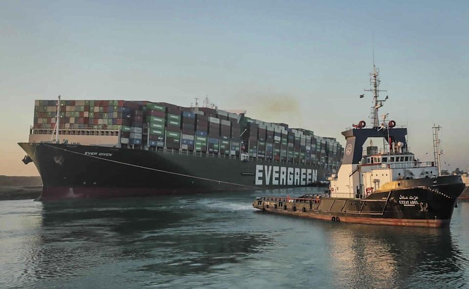 The Evergreen became stuck in the Suez canalAP