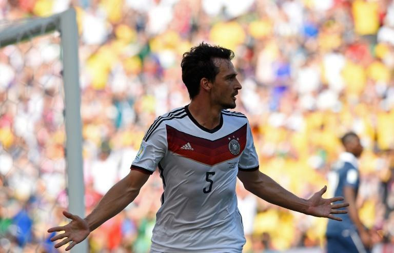 Mats Hummels celebrates his winning goal for Germany in the quarter-finals of the 2014 World Cup