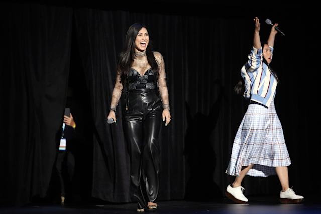 (L-R) Cassie Steele and Awkwafina of 'Raya and the Last Dragon' took part today in the Walt Disney Studios presentation at Disne's D23 Expo 2019 in Anaheim, Calif. (Photo by Jesse Grant/Getty Images for Disney)