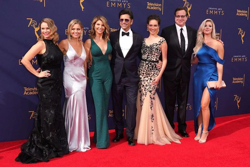 Andrea Barber, Candace Cameron Bure, Lori Loughlin, John Stamos, Caitlin McHugh, Bob Saget and Kelly Rizzo at the 2018 Emmys | JC Olivera/WireImage