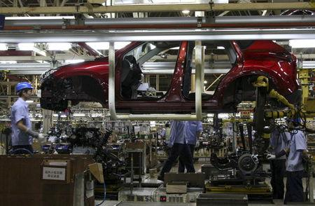 A Mazda Cx-5 is seen in production inside the Changan Mazda factory in Nanjing