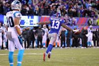 Dec 20, 2015; East Rutherford, NJ, USA; New York Giants wide receiver Odell Beckham Jr. (13) celebrates after scoring a touchdown against the Carolina Panthers during the fourth quarter at MetLife Stadium. Mandatory Credit: Brad Penner-USA TODAY Sports