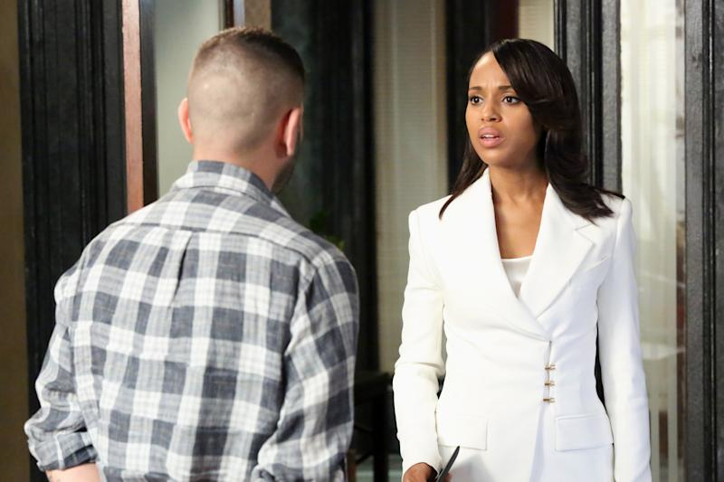 """This publicity image released by ABC shows Kerry Washington is in scene from """"Scandal."""" Washington was nominated for an Emmy Award for best actress in a drama series on Thursday July 18, 2013. The Academy of Television Arts & Sciences' Emmy ceremony will be hosted by Neil Patrick Harris. It will air Sept. 22 on CBS. (AP Photo/ABC, Richard Cartwright)"""