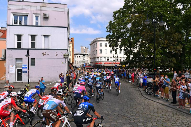 Stage 2 began in Opole City, Poland, with fans along the streets.